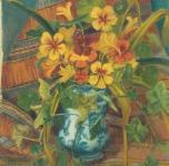 1945 Fiori a S.Margherita Ligure olio su cartone telato cm 40x30