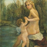 1950 Venere e Amore  olio su tela cm 81x65