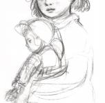 1950 Bambina con bambola  carboncino