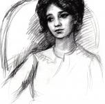 1954 Marie-regine  carboncino su carta  cm 70x60