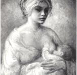 1956 Maternità  olio su tela cm 33x27