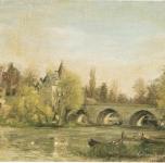 1957 Le Pont à Moret  olio su tela cm36x46