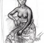 1963  Ragazza congolese  carboncino su carta