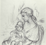1965  Giovane donna e bambino  carboncino su carta cm76x54