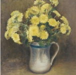 1969  Crisantemi gialli  olio su cartone telato cm 35x25