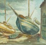 1972  Barche a Viareggio  olio su cartone telato  cm 20x30