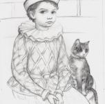 1973  Arlecchino con gatto  matita contè su carta cm 35x25