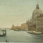 1975  Venezia, Chiesa della Salute  olio su tela cm46x61