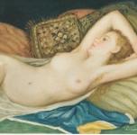 1977  Nudo sul cuscino rigato  olio su tela cm 27x41