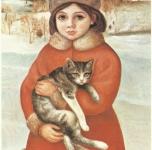 1979  Bambina con gatto  olio su tela cm65x50