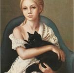 1979  Ragazza con gatto nero  olio su tela cm 33x24