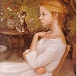 1982  Fanciulla in giardino con gatto